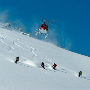 Heliskiing with a guide
