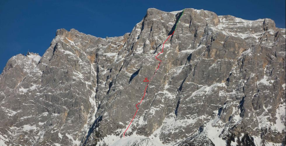 """""""Optimist"""" first ascent 1300m/M6 in Zugspitz"""